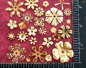 Metal Stamped Flowers, Brass Flower Stampings, Vintage Metal Flowers STA-002