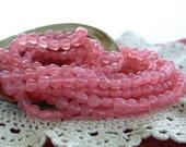Heart Beads, Czech Glass Heart Beads, Milky Pink Heart Beads, Hearts, Pink Heart Beads CZ-089