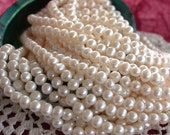 "30"" Destash Fresh Water Pearls, Destash Bead Lot, Destash Beads, Cream Color Fresh Water Potato Pearls  FWP-054"