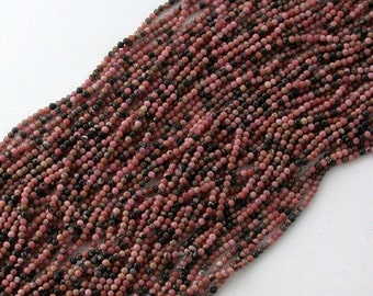 Rhodonite Beads, 2mm Round Semi Precious Beads, Gemstone Beads SP-027