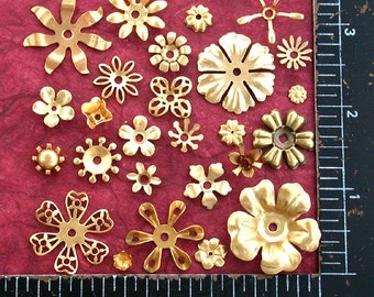 Flowers, Vintage Style,Supplies,Scrap booking,Collage,Craft Supplies,Jewelry Supplies,Made in USA,Wedding Supplies,Brass Flowers, STA-002