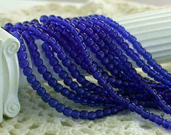 3mm Druks, Czech Glass Beads, Czech Glass Druks, Round Glass Beads, Cobalt Blue Beads CZ-068