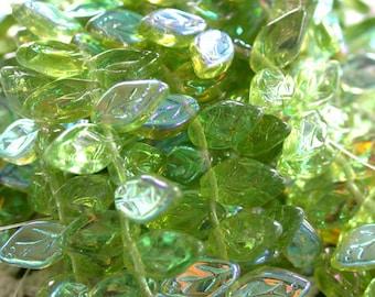 Leaf Beads, Czech Glass Beads, Green Glass Leaves, Olivine A.B. Leaf Beads, Glass Leaves, Glass Leaf Beads CZ-091