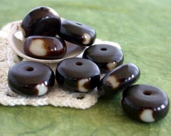 Destash Beads, Resin Beads, 7 Batik Beads, Large Hole Beads, Macrame' Beads, Destash Bead Lot DS-264