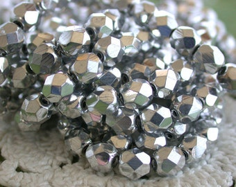 6mm Fire Polished Beads, Czech Glass Beads, Faceted Glass Beads, Metallic Silver Beads CZ-103