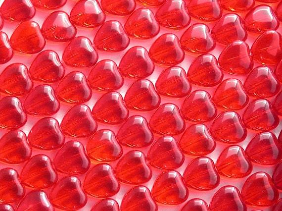 Heart Beads, 10 x 10 mm Red Heart Beads, Czech Glass Heart Beads, Siam Ruby Heart Beads CZ-058
