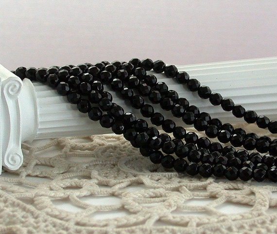 Black Onyx Beads, Onyx Beads, Faceted Black Onyx Beads, Semi Precious Stone Beads, Gemstone Beads  SP-076