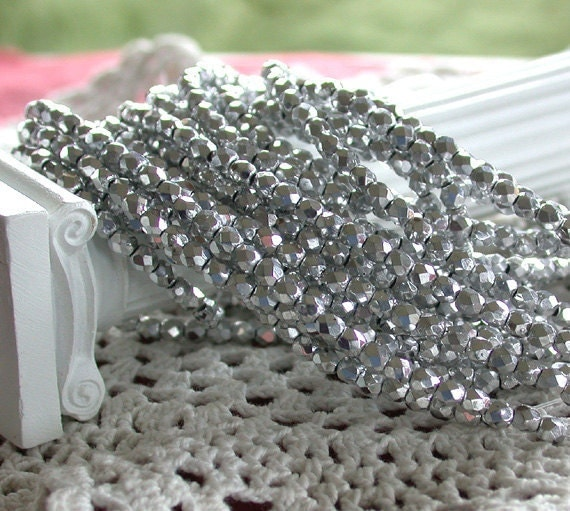 3mm Fire Polished Beads, Czech Glass Beads, Faceted Glass Beads, Metallic Silver Beads CZ-095