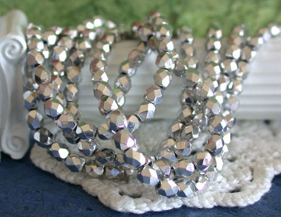 4mm Fire Polished Beads, Czech Glass Beads, Faceted Glass Beads, Metallic Silver Beads CZ-102
