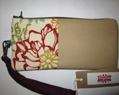 Floral Tan textured and Plum Wristlet