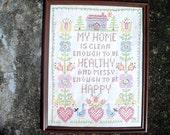 Vintage Handmade Home and Heart Needlecraft Sampler
