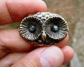 Special - Bronze Owl Set With Rose Cut Sapphire Eyes
