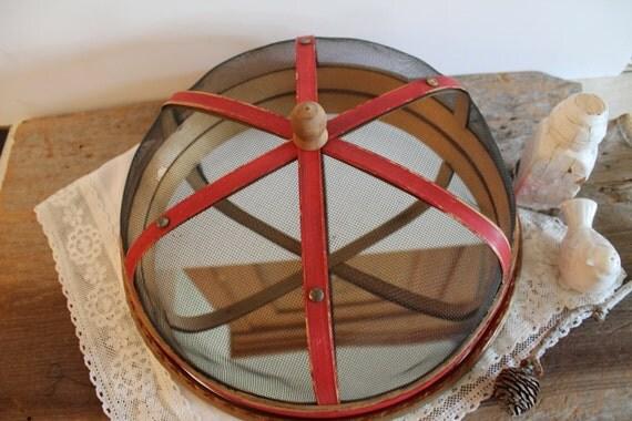 SALE---  vintage wooden food screen and mirror OOAK