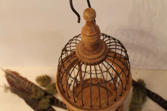 vintage wooden domed bird cage--shabby chic--country living--cottage chic