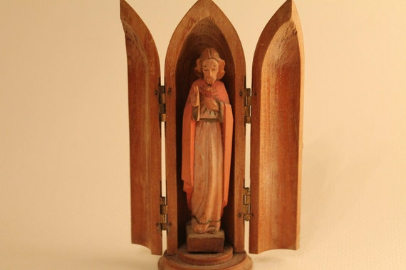 vintage religious triptych wooden shrine