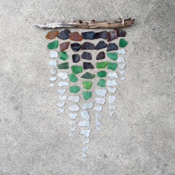 Sea Glass & Driftwood Mobile - Brown, Green, and Clear - Chevron