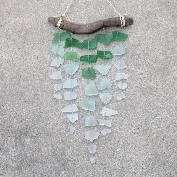 Sea Glass & Driftwood Mobile - OMBRE - Green, Aquamarine and Clear