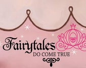 Fairytales Do Come True Cinderella Princess Pumpkin Carriage and sparkles Vinyl Wall word Lettering Decal