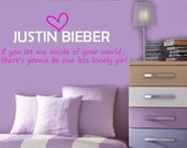 JUSTIN BIEBER One Less Lonely Girl Vinyl lyrics lettering Decal