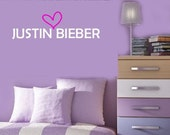 I love JUSTIN BIEBER  Vinyl wall lettering Decal