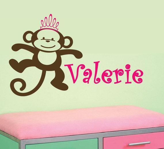 GIrls Baby Monkey Princess with tiara crown custom Name Nursery Vinyl Wall letering Decal personalized
