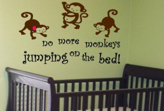 items similar to no more monkeys jumping on bed nursery. Black Bedroom Furniture Sets. Home Design Ideas