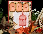 Fly Greeting Card, Handmade Notecard with Bird and Birdcage, Encouragement Card, Any Occasion Card, Note for a New Beginning