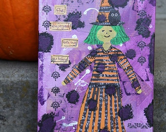 Little Witch Mixed Media Painting, Green Haired Girl with Black Cat and Owl, Original Halloween Artwork, Primitive Art, Purple and Orange