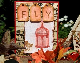 Fly Greeting Card, Handmade Notecard with Bird and Birdcage, Encouragement Card, Note for a New Beginning, Spread Your Wings, Bird Card