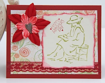 Mother's Day Card, Reading Woman and Flower with Heart, Notecard in Red And Green, Handmade Greeting Card, Happy Mother's Day