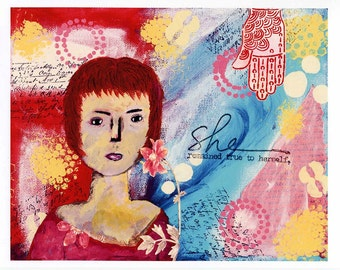 Print of Mixed Media Painting, Portrait of a Woman, True to Herself, Print of Acrylic Artwork, Art Print, Unframed Artwork, Wall Hanging