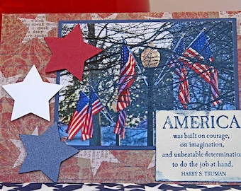 Patriotic Photo Notecard, Mixed Media American Flag, Fourth of July Greeting Card, Truman Quote, Congratulation to New US Citizens, Veterans