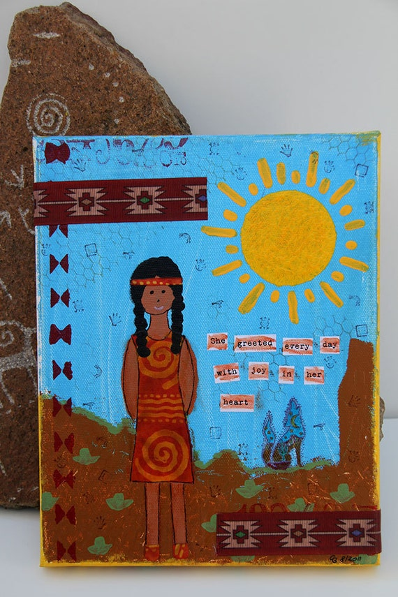 Mixed Media Painting of Native American Girl 8 x 10