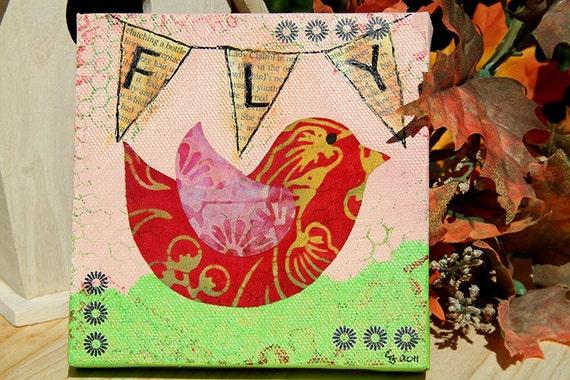 Bird Mixed Media Painting