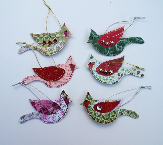 Bird Christmas Ornaments Set of 6 Paper Ornaments Gift Tags