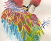 parrot painting,original, water color, bird, animal, nature, wild, acuarela, gift,