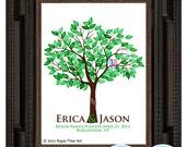 WEDDING TREE guest book, fingerprint tree guest book, fingerprint guest tree, Thumbprint guestbook, Wedding Tree, Love Birds, 16x20 num.104