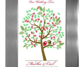 THUMBPRINT TREE, wedding tree guest book, fingerprint guest tree, fingerprint tree guest book, guest book Love Birds, 20x24 num. 101