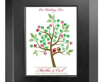 Digital WEDDING TREE GUESTbook, printable spring Thumbprint guest book, fingerprint guest tree, fingerprint tree guest book, DIY 101
