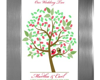 Fingerprint Guest Tree, TREE GUEST BOOK, Wedding Tree, Love Birds, Thumbprint Love Tree guest book, 11x17 num. 101