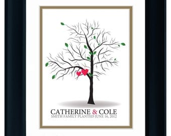 FINGERPRINT GUEST TREE , Wedding Tree, Love Birds, guest book tree wedding, Thumbprint Stamp Tree Stamp, Tree guest book, 20x30 num. 103