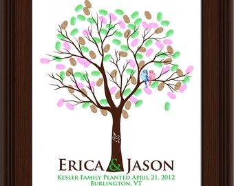 WEDDING TREE GUEST book, thumbprint tree, fingerprint guest tree, fingerprint tree guest book, Love Birds, Wedding tree 20x24 num. 104