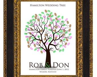 WEDDING TREE guest book, fingerprint tree guest book, fingerprint guest tree, Thumbprint guestbook, Wedding Tree, Love Birds, 16x20 num.111