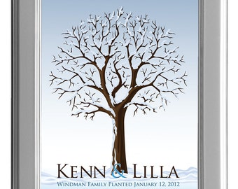THUMBPRINT TREE, Winter wedding tree guest book, Winter fingerprint guest tree, Thumbprint Tree guest book, Wedding Poster 13x19 num.114