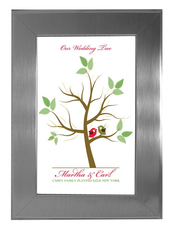THUMBPRINT TREE, Fingerprint Stamp guest book Tree, Love Birds, tree guest book, guest book tree wedding, 20x30 num. 101