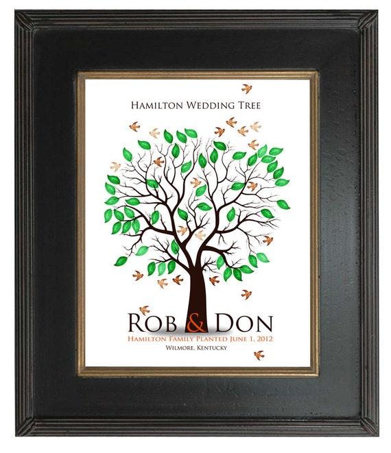 WEDDING FINGERPRINT GIFT Tree, Thumbprint Tree, Love Birds, wedding tree guest book, Stamp Tree guest book, 20x30 num.111