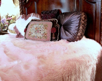 Plush Faux Fur  Bedspread Throw Blanket Comforter Soft Cotton Candy Pink Minky Cuddle Fur Lining