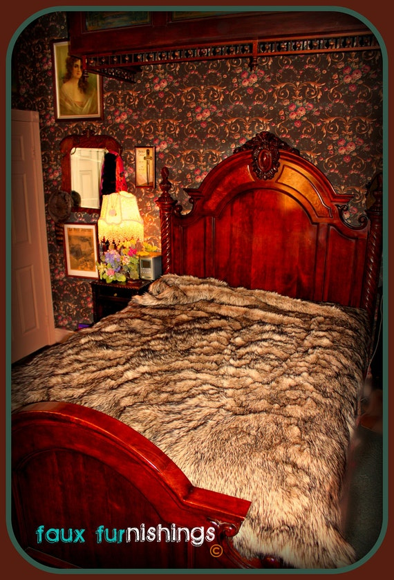 Plush Faux Fur Wolf forter Throw Bedspread Soft by