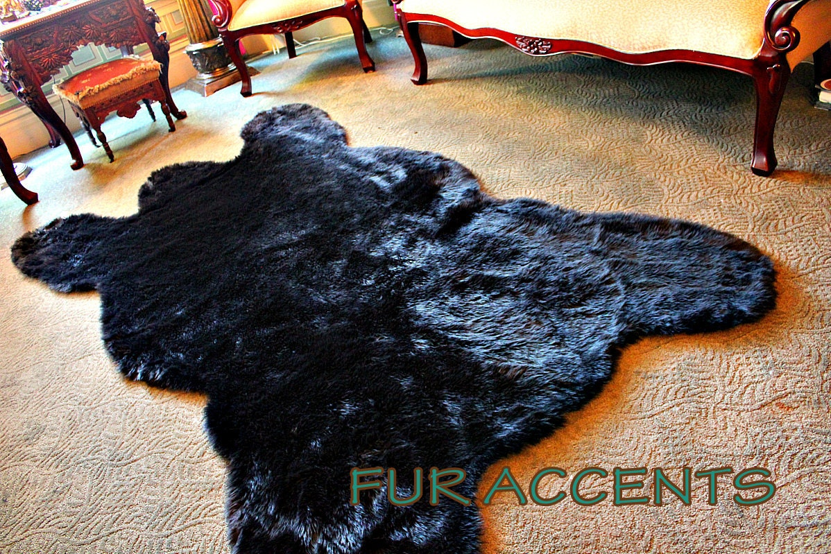9' Faux Black Bear Skin Pelt Rug REALISTIC Plush Soft Faux