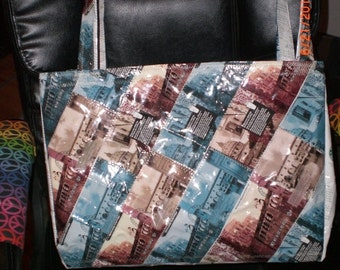 Tote patchwork quilt look made from recycled material and lined choice of options